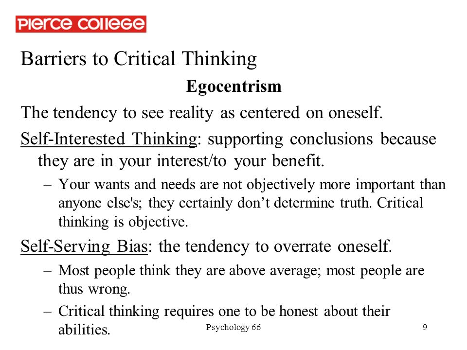 Personal barriers to critical thinking essay