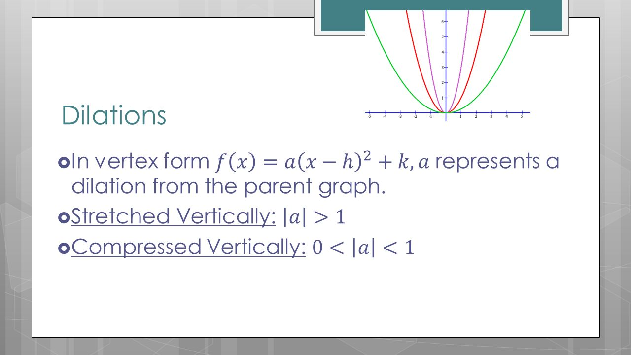Section 93 day 1 transformations of quadratic functions ppt dilations in vertex form 2 falaconquin