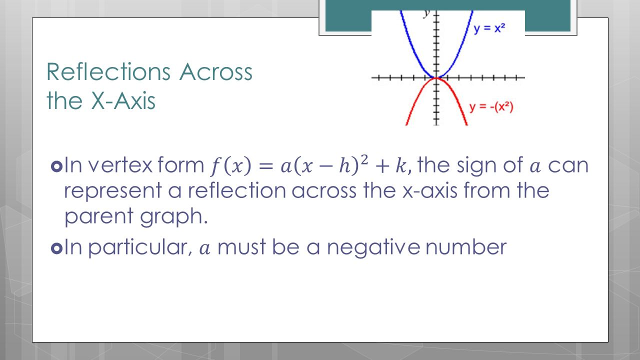 Section 93 day 1 transformations of quadratic functions ppt reflections across the x axis falaconquin