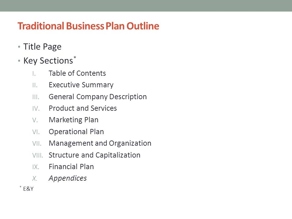 Traditional Business Planning
