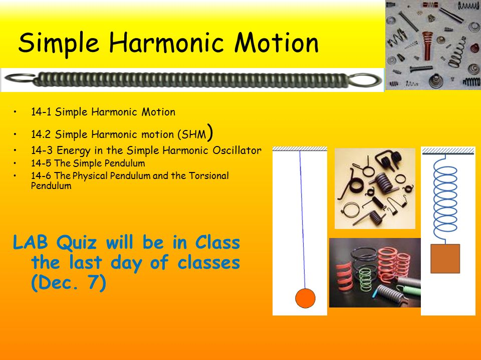 simple harmonic motion lab report Simple harmonic motion physics laboratory report simple harmonic motion: determining the force constant aim of experiment: the objective of this experiment is: 1 to study the simple harmonic motion of a mass-spring system 2.