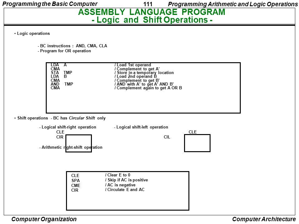 ASSEMBLY LANGUAGE PROGRAM - Logic and Shift Operations -