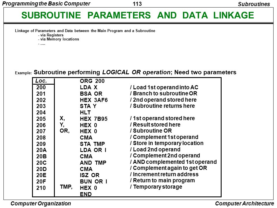 SUBROUTINE PARAMETERS AND DATA LINKAGE