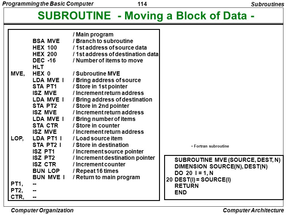 SUBROUTINE - Moving a Block of Data -