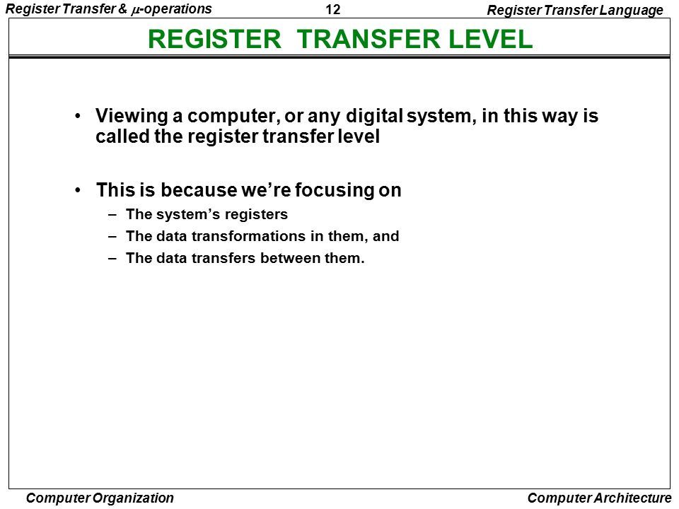 REGISTER TRANSFER LEVEL