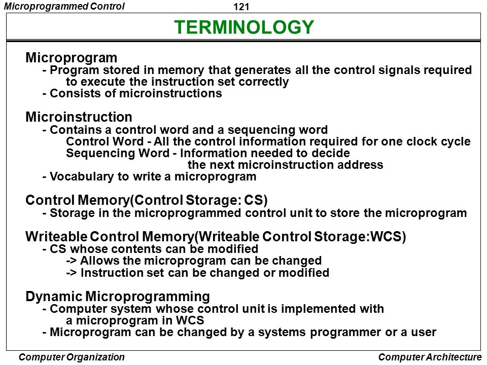 TERMINOLOGY Microprogram Microinstruction