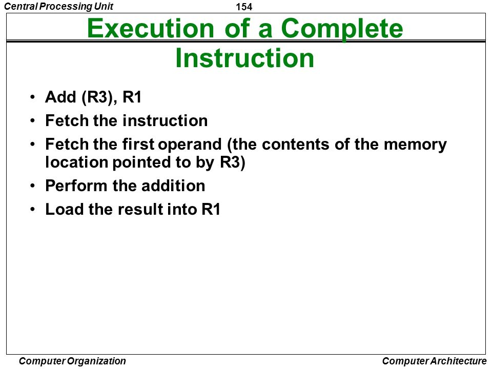 Execution of a Complete Instruction