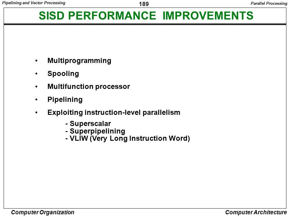 SISD PERFORMANCE IMPROVEMENTS