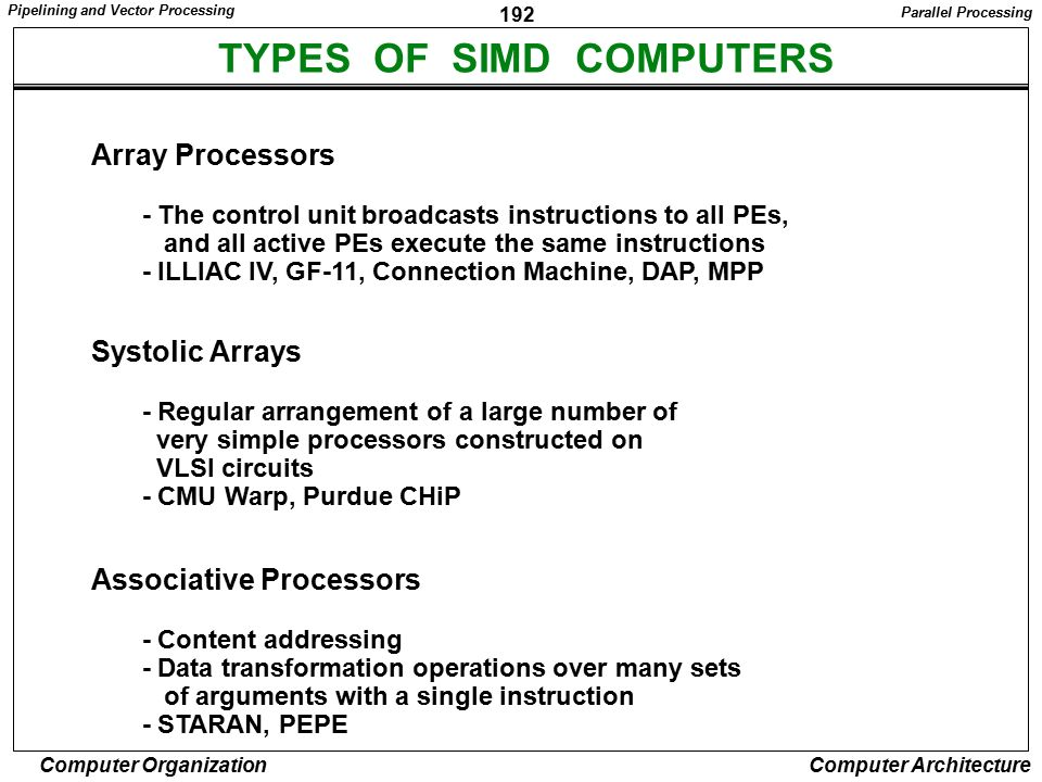 TYPES OF SIMD COMPUTERS