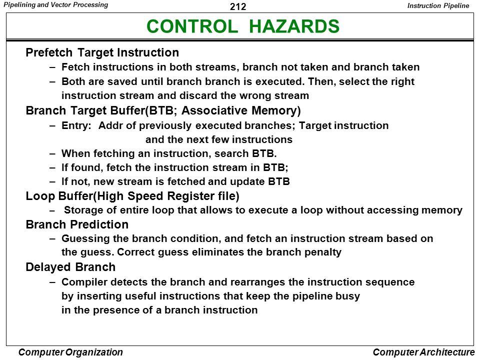 CONTROL HAZARDS Prefetch Target Instruction
