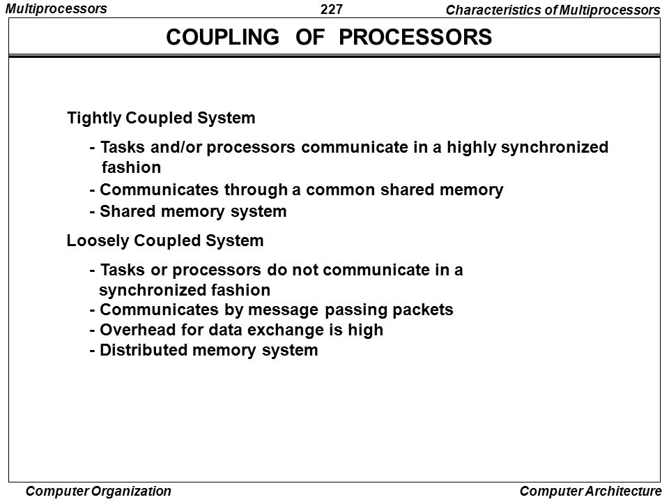 COUPLING OF PROCESSORS
