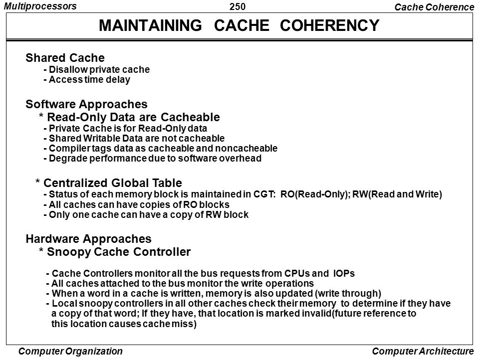 MAINTAINING CACHE COHERENCY