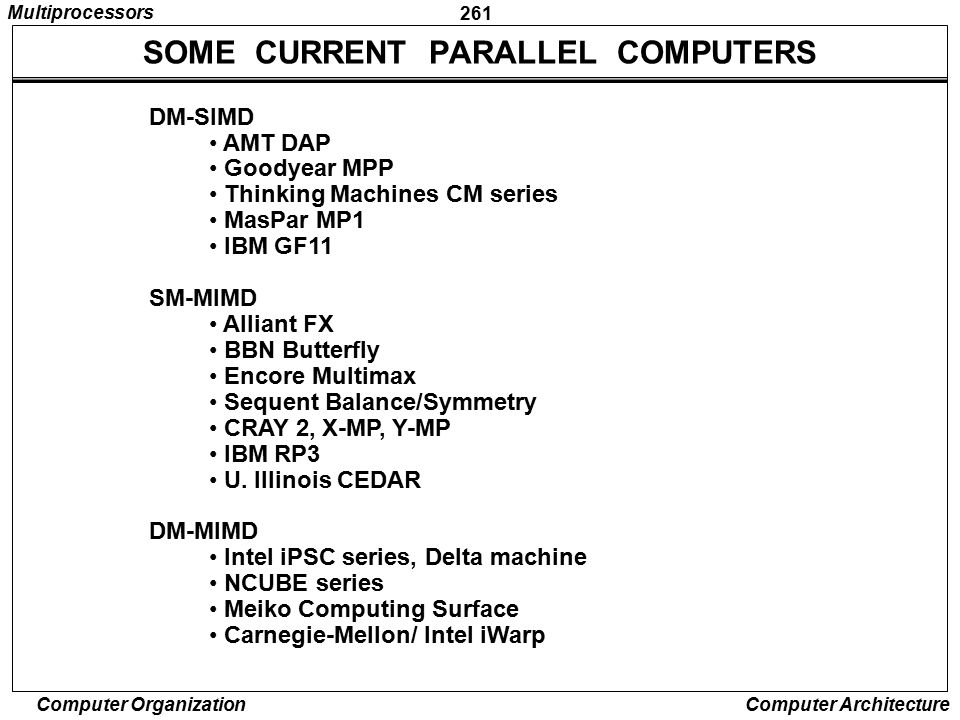 SOME CURRENT PARALLEL COMPUTERS