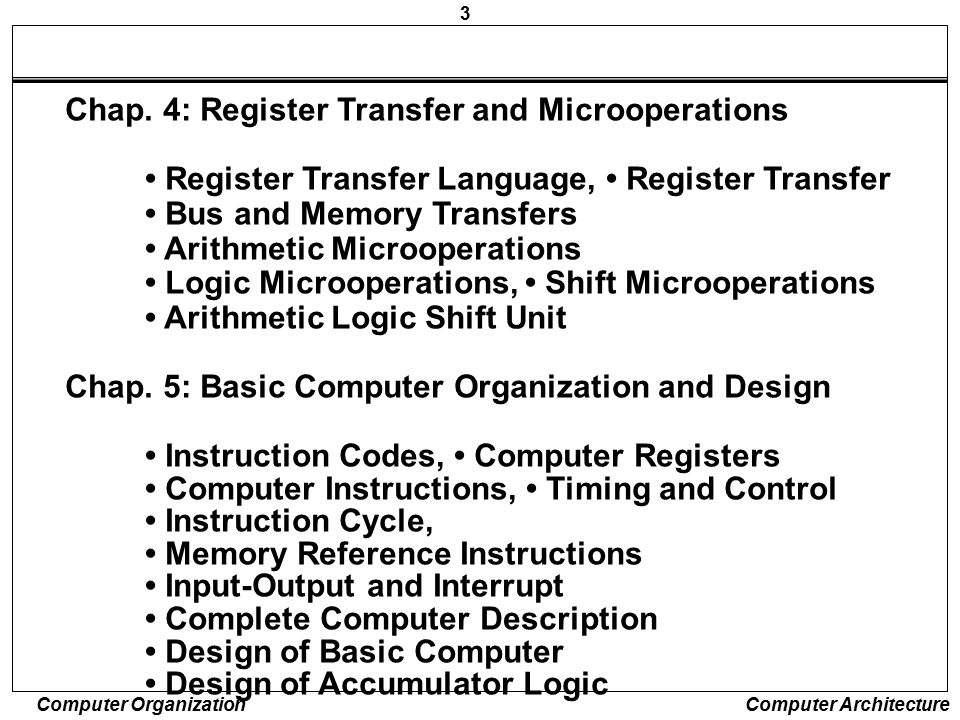 Chap. 4: Register Transfer and Microoperations