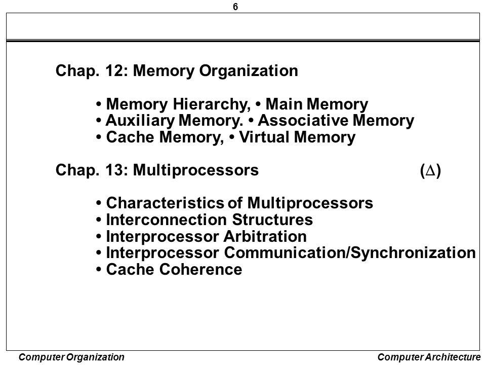 Chap. 12: Memory Organization