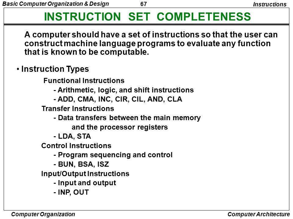INSTRUCTION SET COMPLETENESS