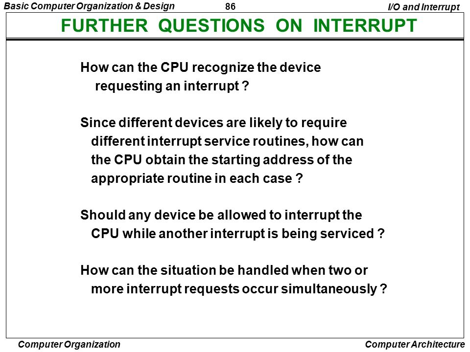 FURTHER QUESTIONS ON INTERRUPT