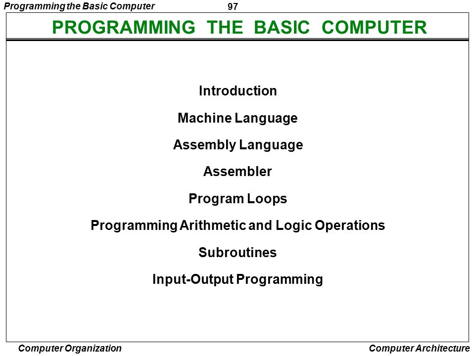 PROGRAMMING THE BASIC COMPUTER