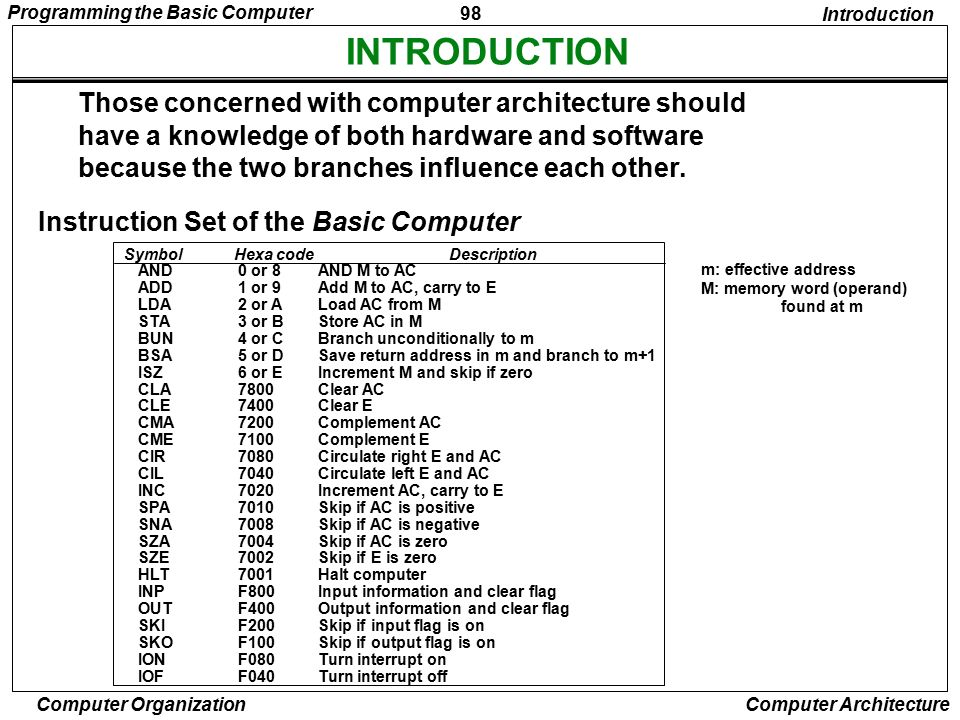 INTRODUCTION Those concerned with computer architecture should