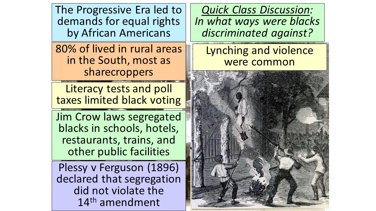 the progression of african americans African americans are citizens of the united states with ancestors who came from africa their forefathers were brought to american colonies as slaves in the 17th and 18th centuries.