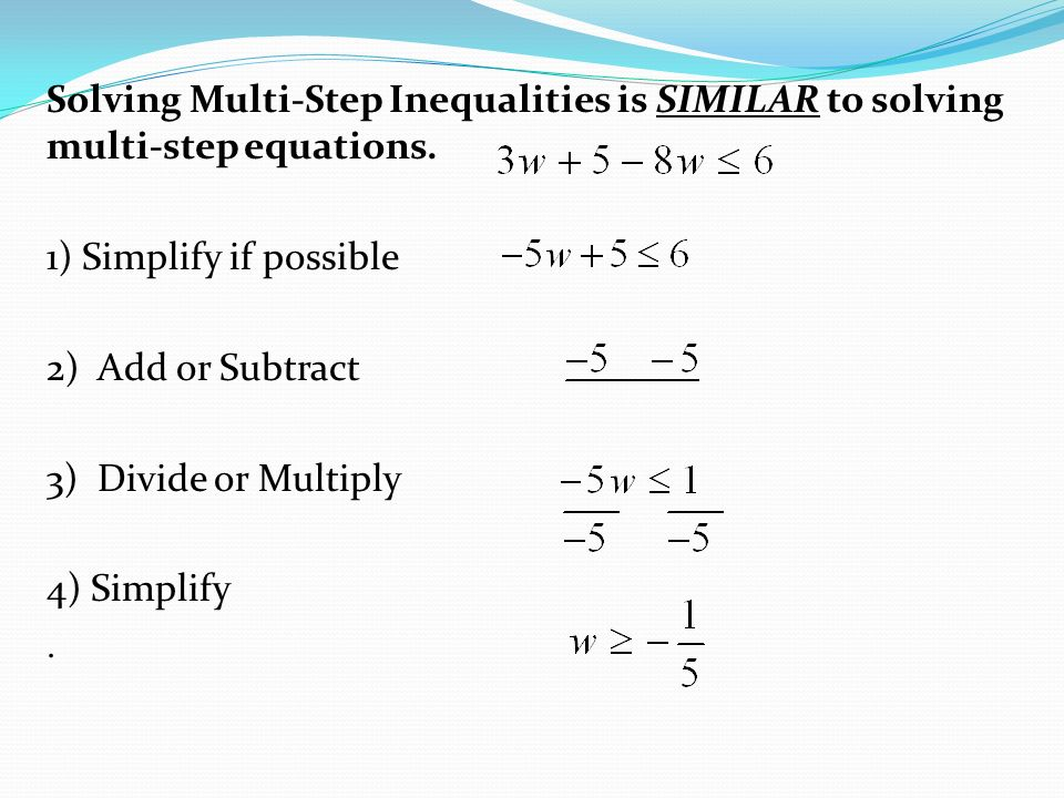 notes 3 4 solving multi step inequalities ppt video online download. Black Bedroom Furniture Sets. Home Design Ideas