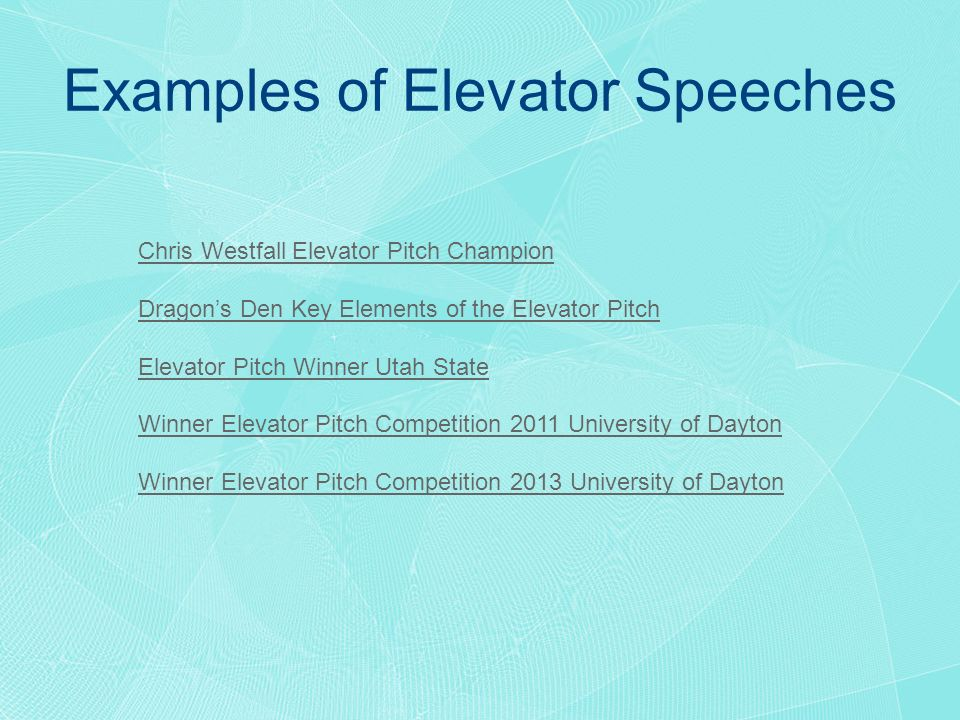 Elevator Pitch Example Example Of A Commercial Elevator Speech