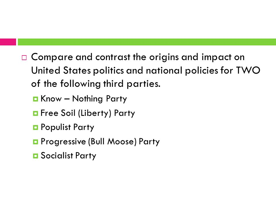 third parties essay There seems to be more new political parties with each passing election some people argue that these new parties offer people tired of bipartisan politics as usual a.