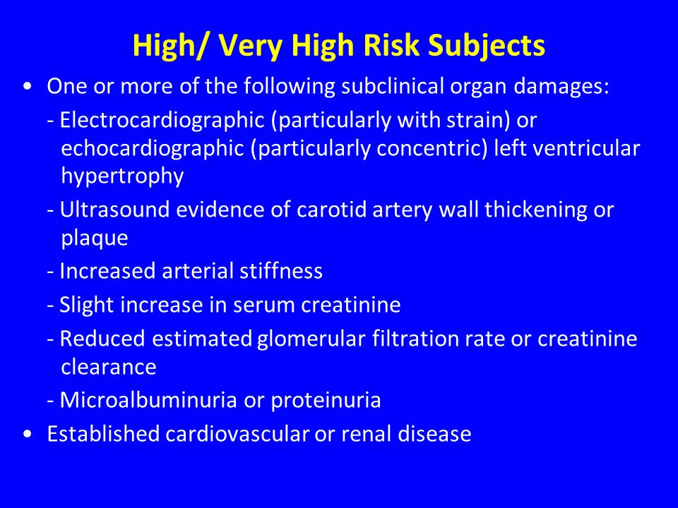 High/ Very High Risk Subjects