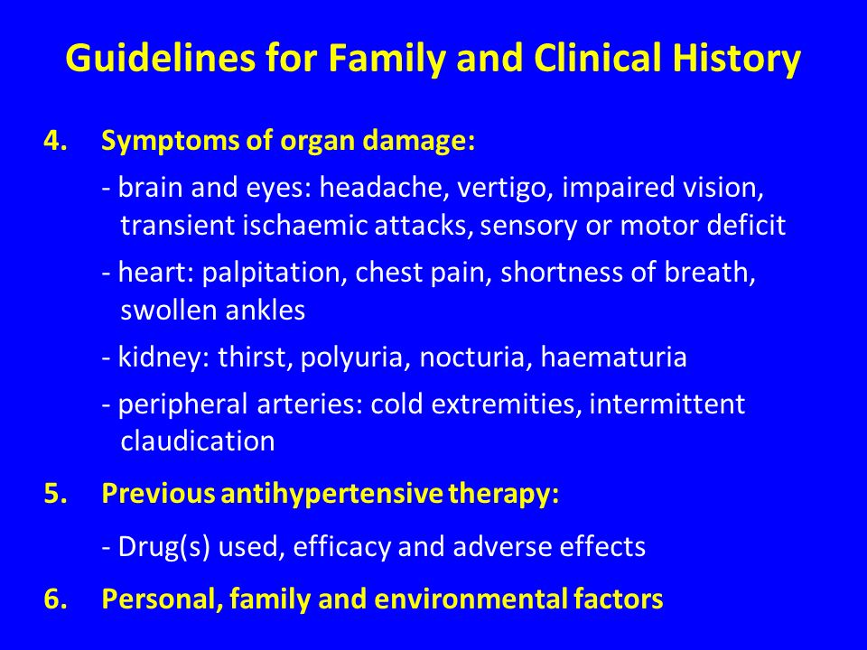 Guidelines for Family and Clinical History