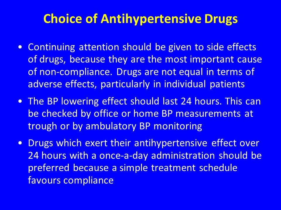 Choice of Antihypertensive Drugs