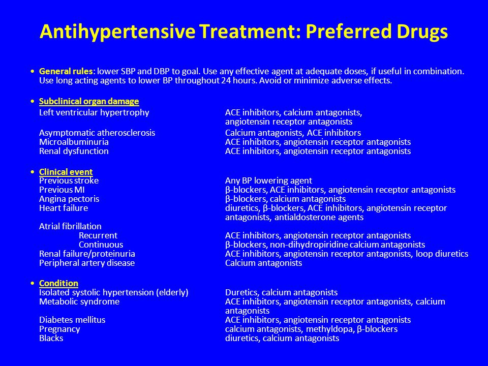 Antihypertensive Treatment: Preferred Drugs