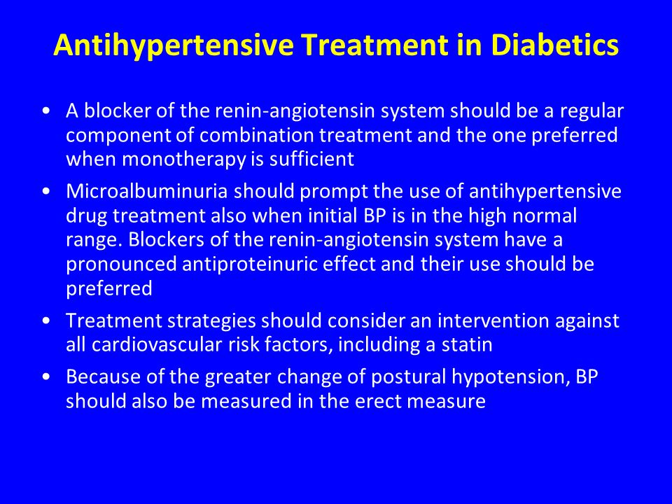 Antihypertensive Treatment in Diabetics