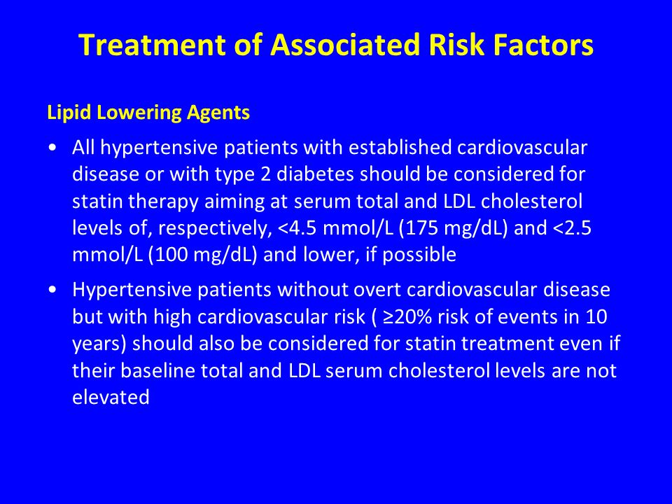 Treatment of Associated Risk Factors