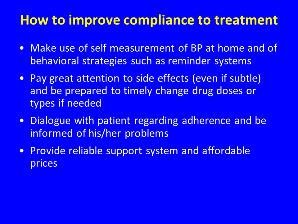 How to improve compliance to treatment
