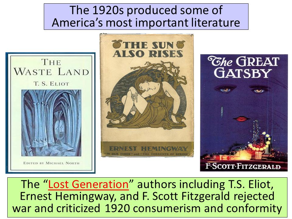 the importance of the writers of the 1920s in american literature This field traces the development of american literature from the 1920s to the end of how do authors and characters stein, gertrude (important precursor.