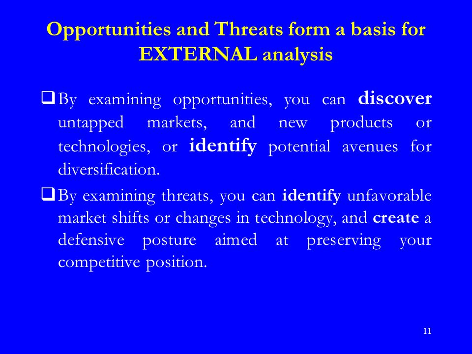 external opportunities and threats of avon company Swot alongside pest/pestle can be used as a basis for the analysis of  business and environmental factors.