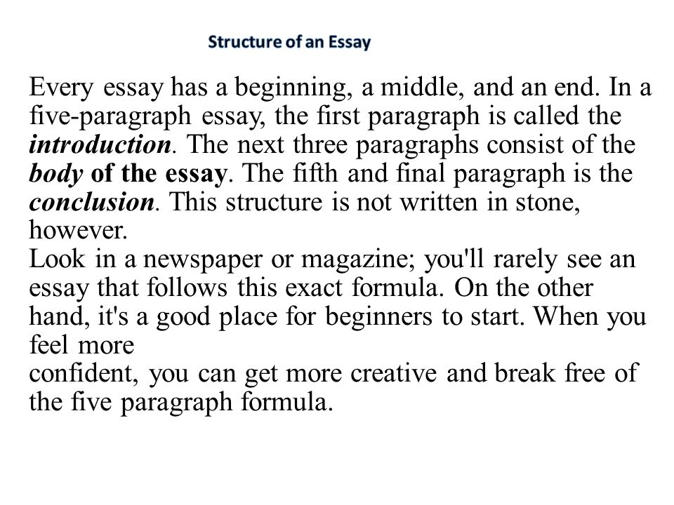 structuring a 5 paragraph essay The 5-paragraph essay is the universal standard format whether you are writing a persuasive piece or just a story, this is the go-to structure.
