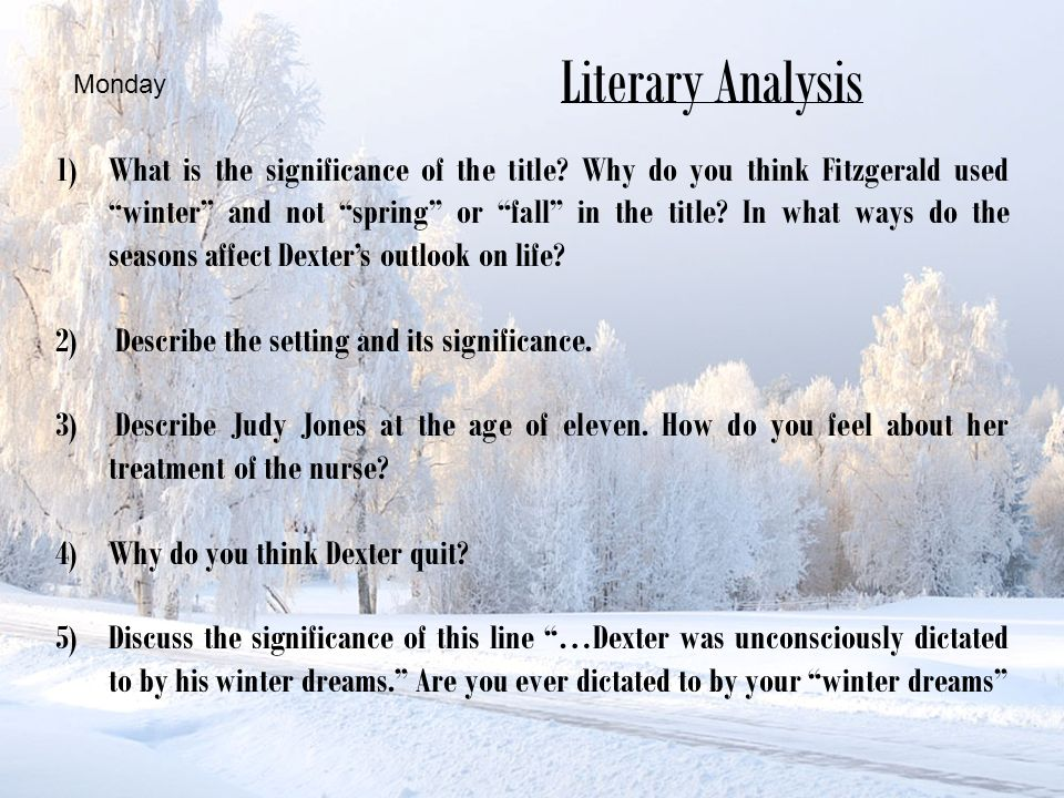 a round character in winter dreams Winter dreams literary the winter season seem to be his deciding judge on what he  dreams dreams are the touchstones of our characters - henry.