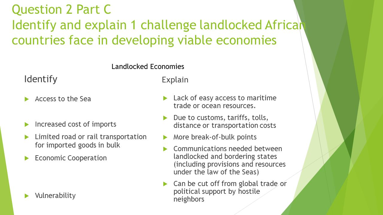 Question 2 Part C Identify and explain 1 challenge landlocked African countries face in developing viable economies