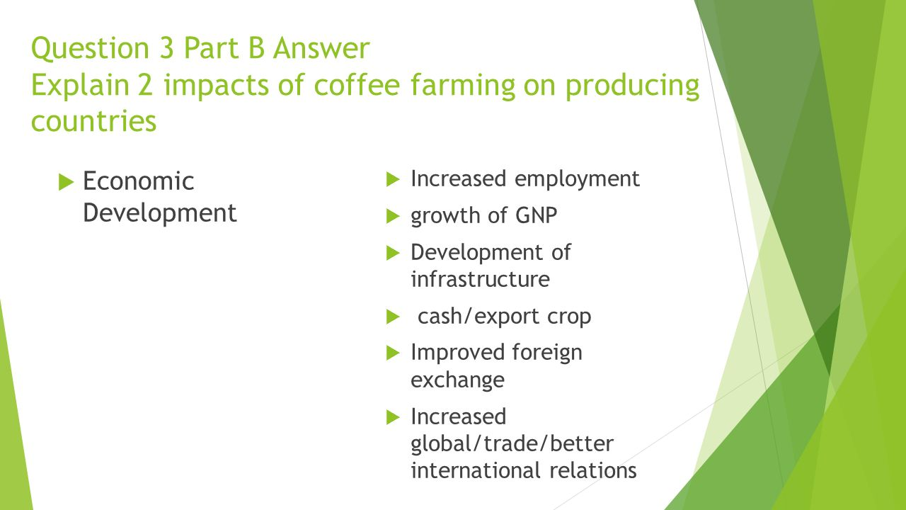 Question 3 Part B Answer Explain 2 impacts of coffee farming on producing countries