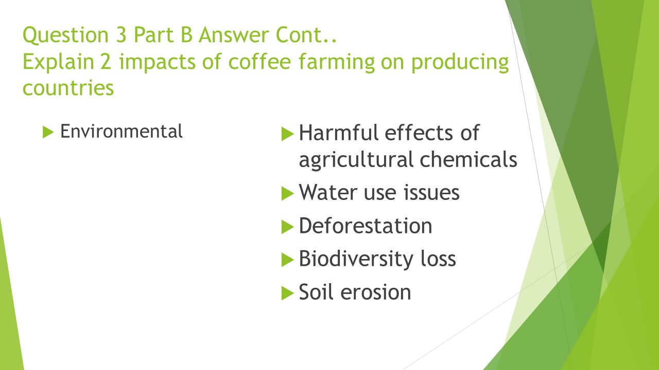 Harmful effects of agricultural chemicals Water use issues