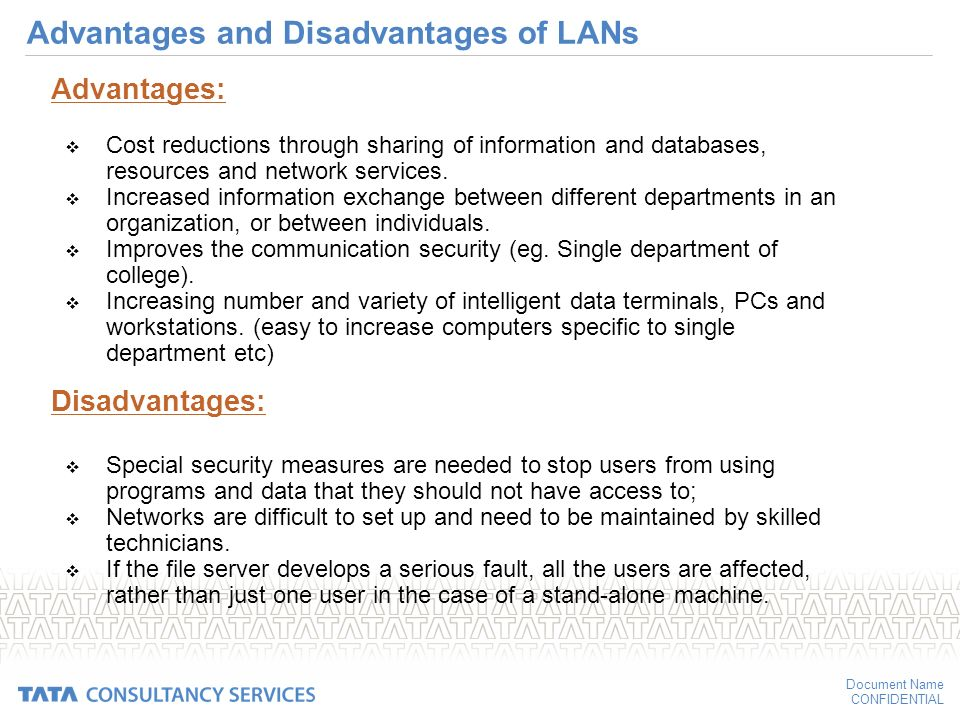 advantages and disadvantages of lan A local area network (lan) is a computer network that interconnects computers  within a limited area such as a residence, school, laboratory, university campus.