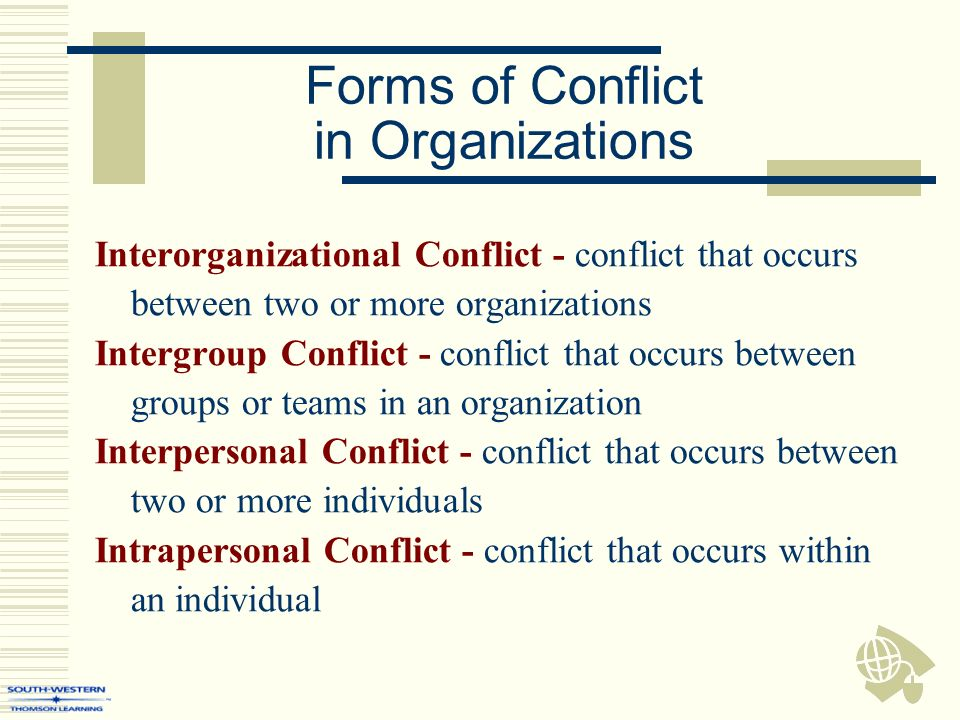 conflict in organization In any organization, conflicts, both major and minor, may arise these conflicts can cause far-reaching negative effects on the people in your workplace absenteeism, high turnover, poor productivity, and even violence can be a result of conflict and contention.