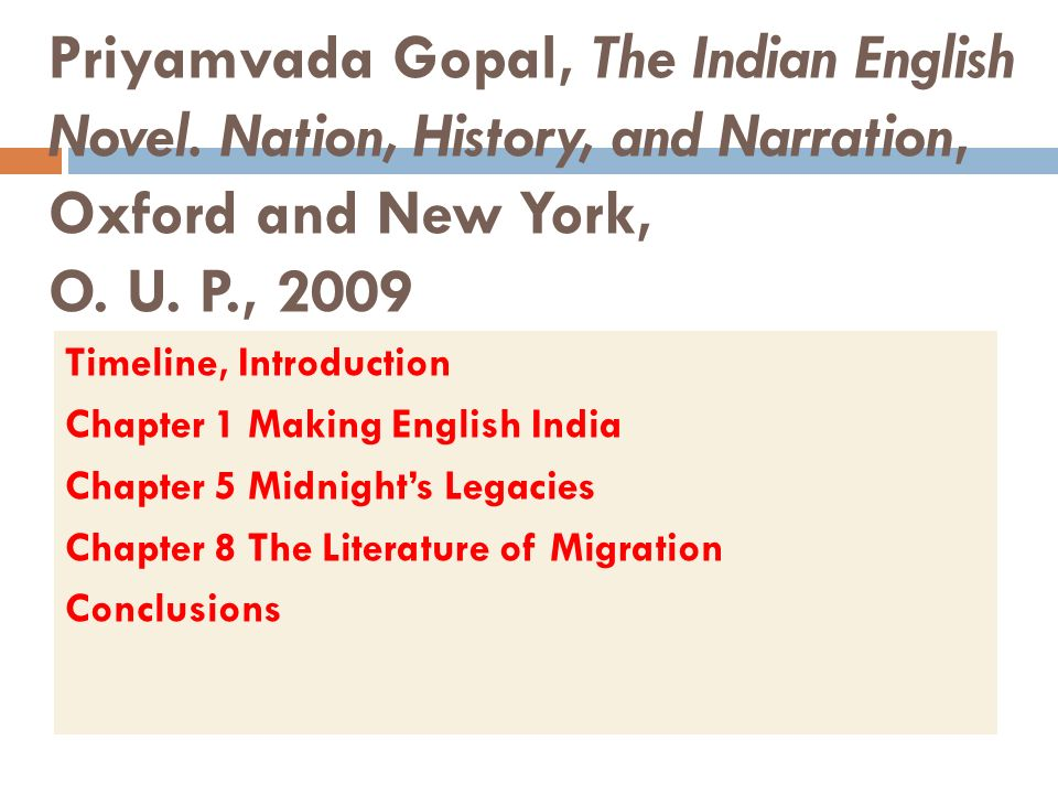 Priyamvada Gopal, The Indian English Novel