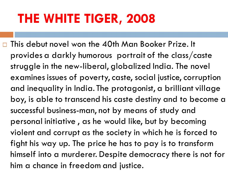 THE WHITE TIGER, 2008