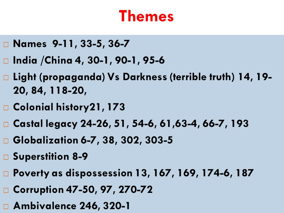 Themes Names 9-11, 33-5, 36-7 India /China 4, 30-1, 90-1, 95-6