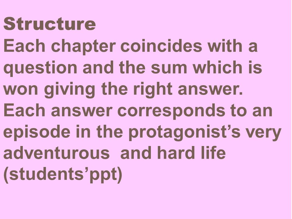 Structure Each chapter coincides with a question and the sum which is won giving the right answer.
