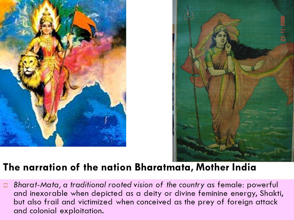 The narration of the nation Bharatmata, Mother India