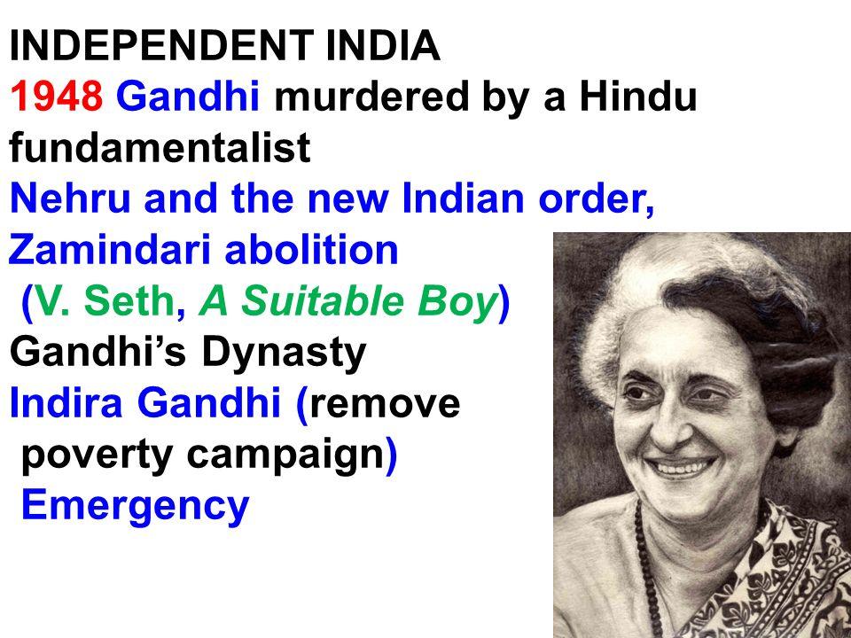 1948 Gandhi murdered by a Hindu fundamentalist