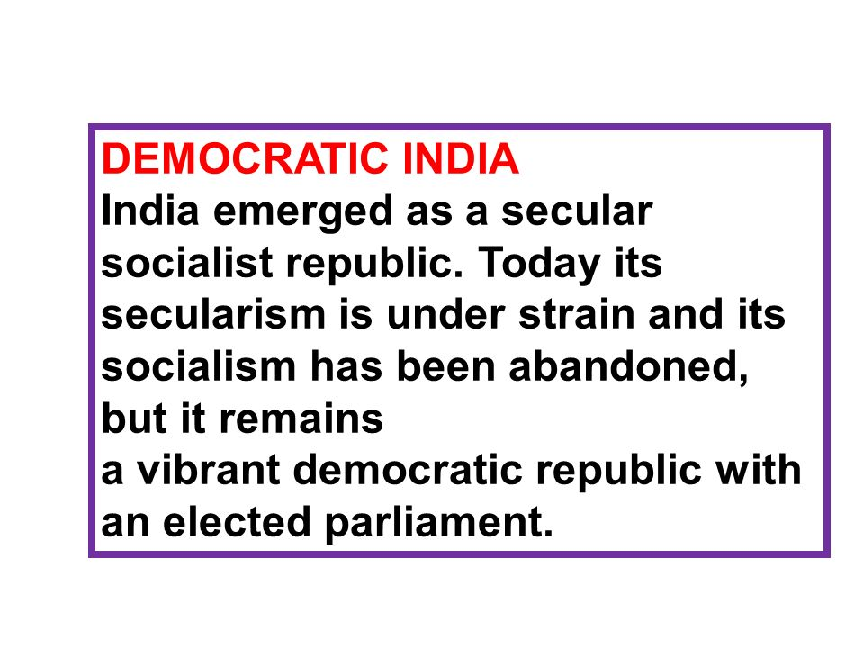 DEMOCRATIC INDIA